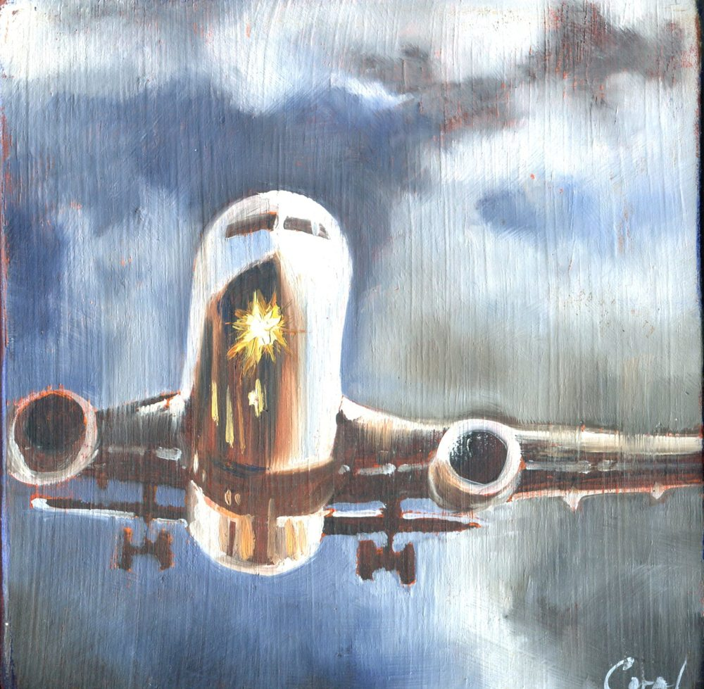 Spencer, Coral 61a Airplane Fly, Oil on wood.