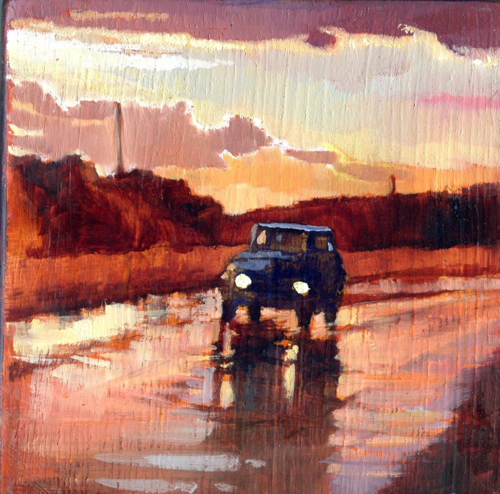 Spencer, Coral 61c Driving, Oil on Wood.