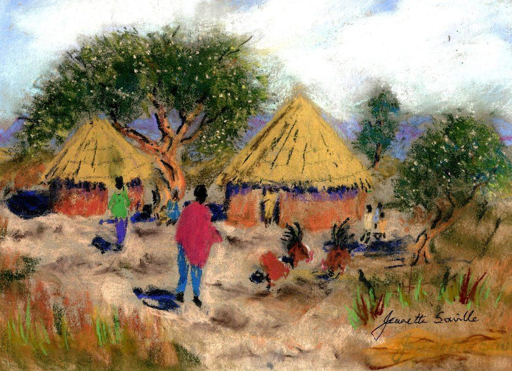 Saville, Jeanette 39  Kraal Scene, Pastel on paper.