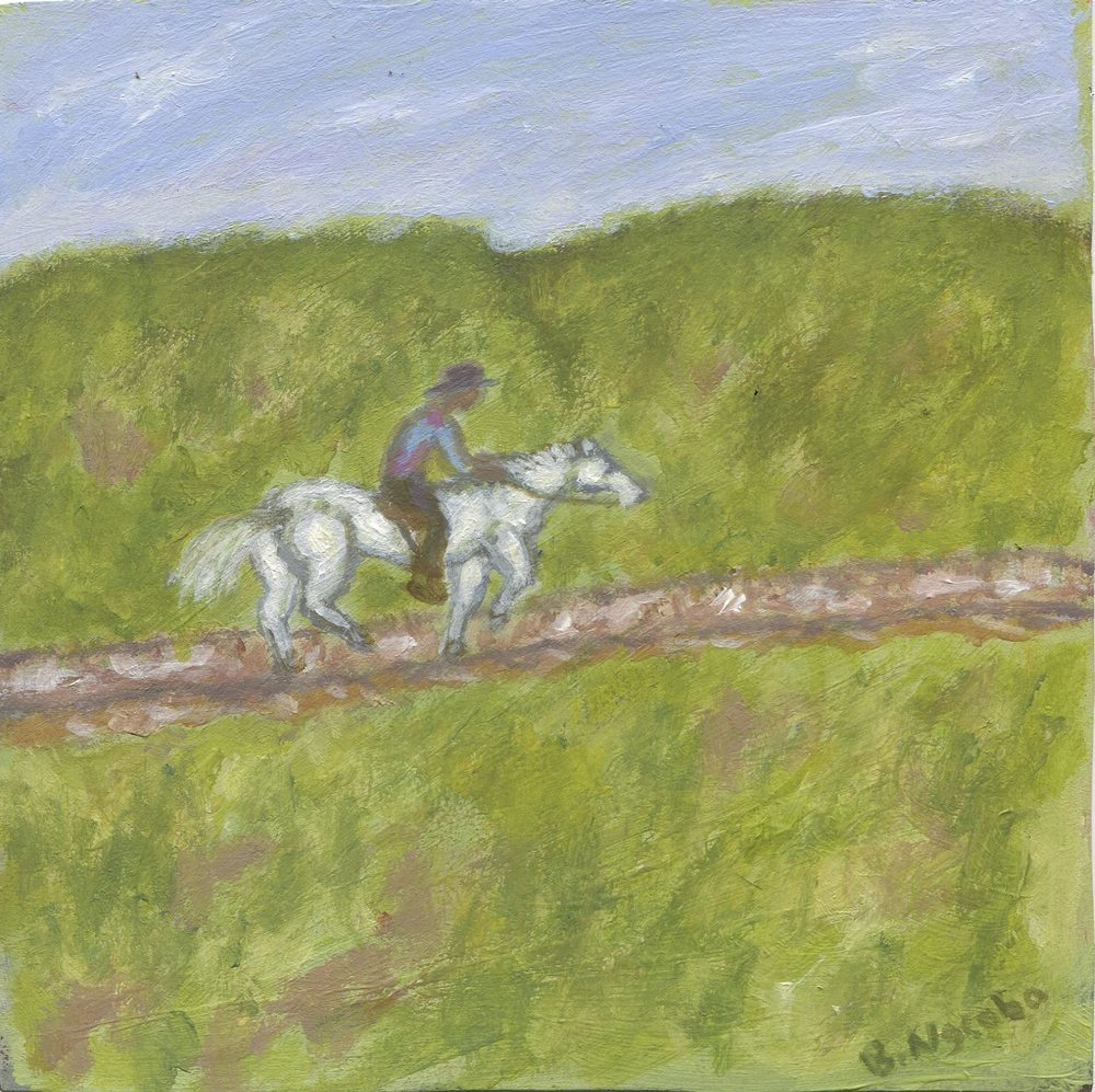 13a Ngcobo, Bonginkosi-Horseriding in the Mountain,Acrylic on paper.jpg