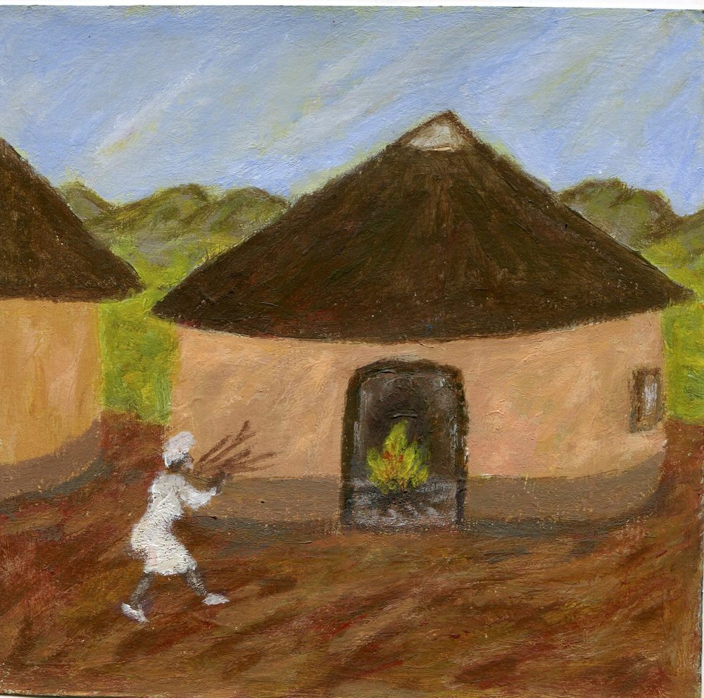 13b Ngcobo, Bonginkosi-Fire in the Rondavel,Acrylic on paper.jpg