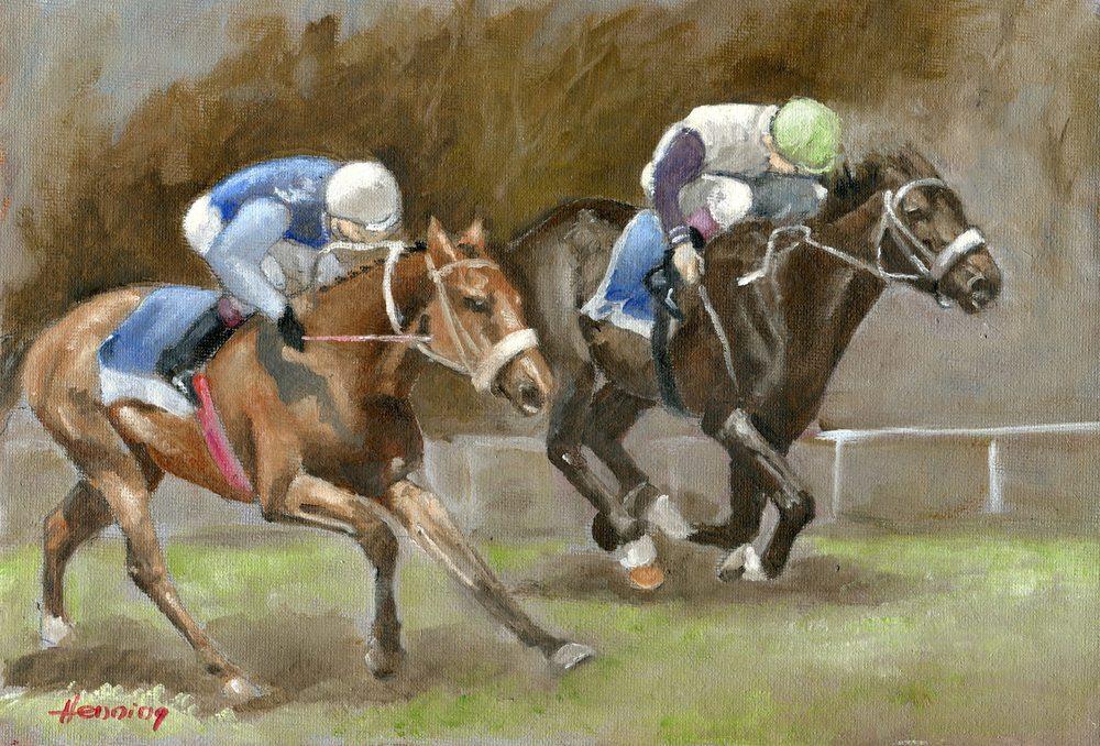 18aHenningDennis-2 Race Horses,Oil on canvass.jpg