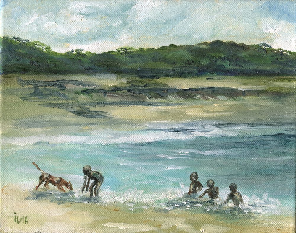 20a Matthews, Ilma-Children Swimming with Dogs, Oil on canvass.jpg