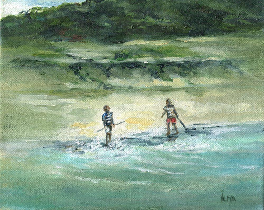 20b Matthews, Ilma- Boys Playing on Beach, Oil on canvass.jpg