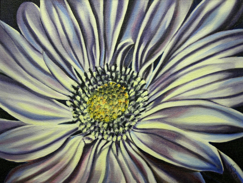 34b Sutton, Jennifer- liliac and Blue Sunflower, Oil on canvass.JPG