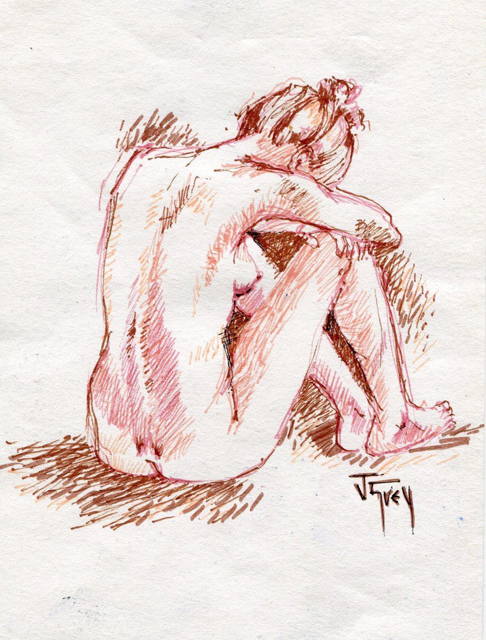 41b Grey, Juliet- Sepia Nude, Fibretips.jpg
