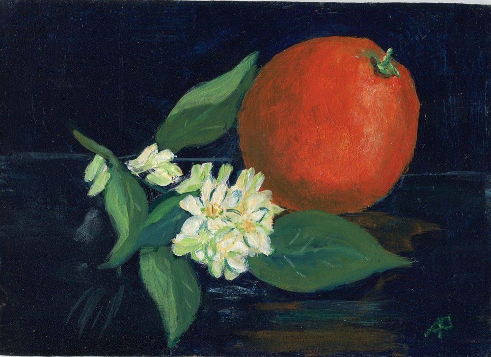 55b Pettifer, Anna - Orange with Blossoms, Acrylic.jpg