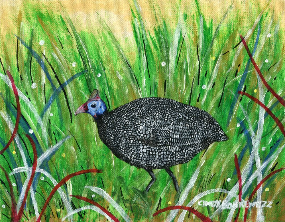 66a Bonkewitzz, Cindy- Helmeted Guineafowl, Acrylic on canvass.jpg