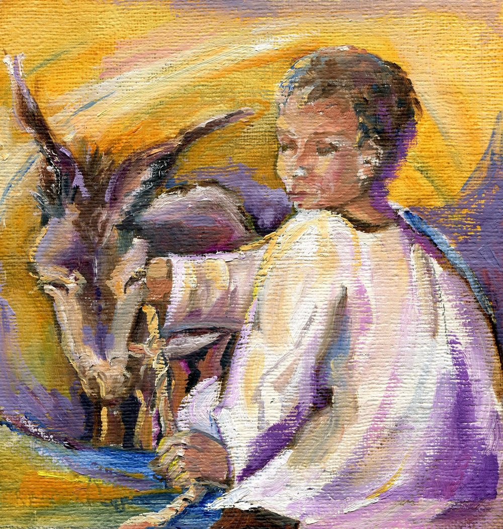 76b Anonymous Janette, Child with Donkey Acrylic.jpg