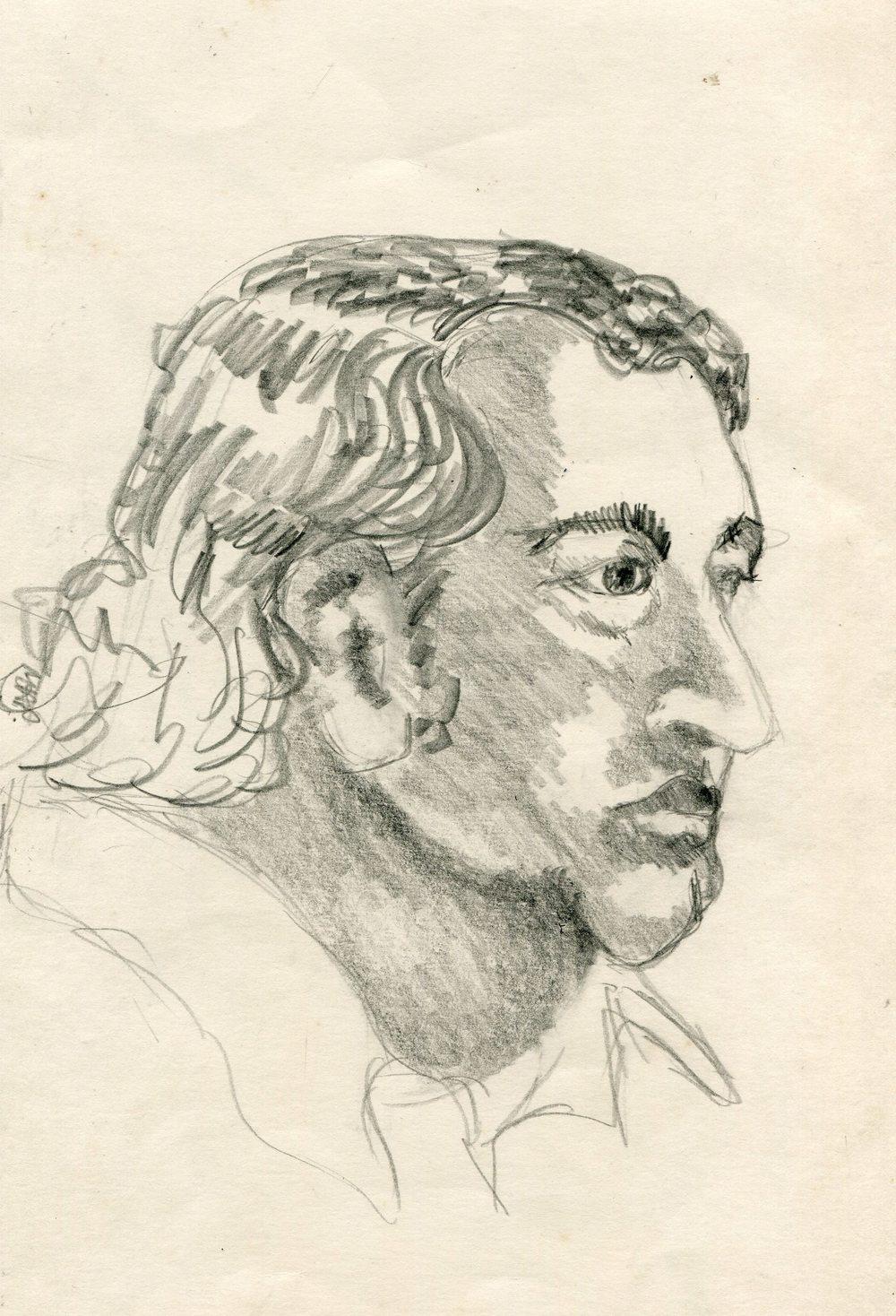 80a Pattenden, Marilyn - Man's Head , Pencil on paper..jpg