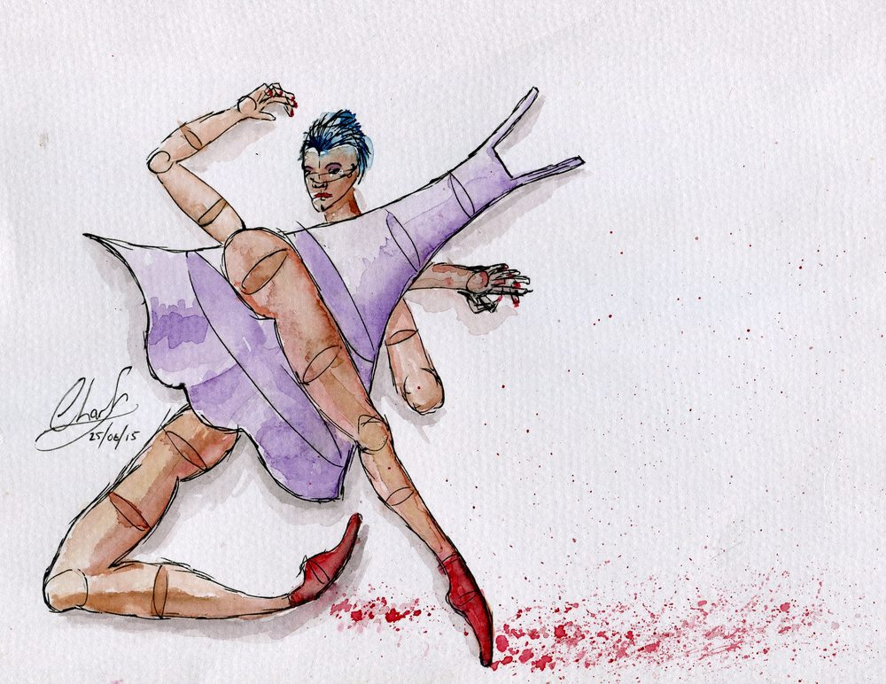 84c Landberg, Charl - The Red Shoes, Watercolour & Ink on paper..jpg
