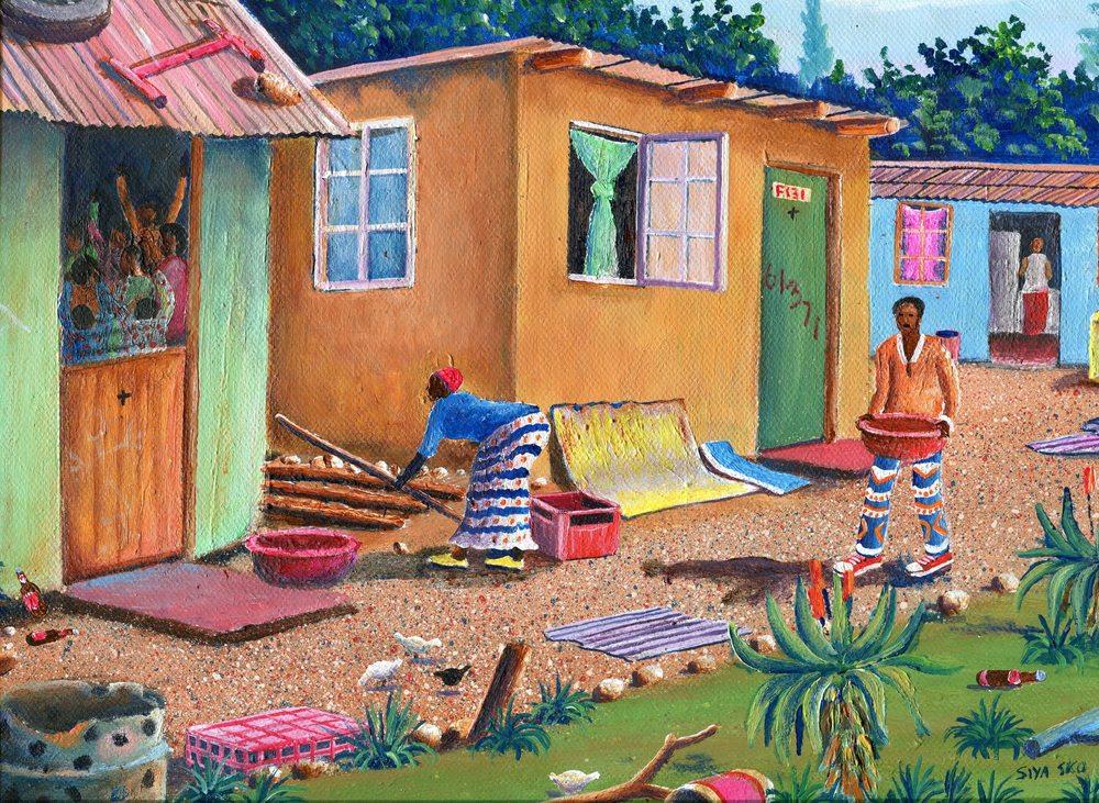 88a Sikosana, Siyabonga - Prayer meeting at Nyuswa, Acrylic on canvass.jpg