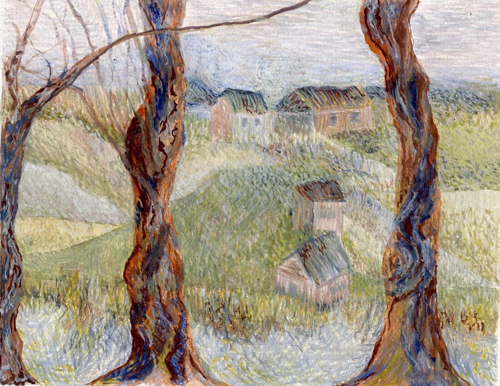 91 Akerman, Sue - Landscape with trees, Egg Tempera..jpg