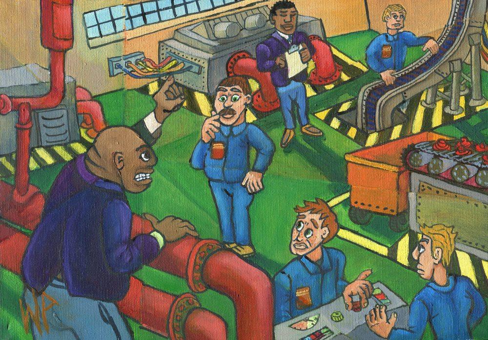 94b van Heerden, WP - Shattered View of pep-talk, Oil on canvass.jpg