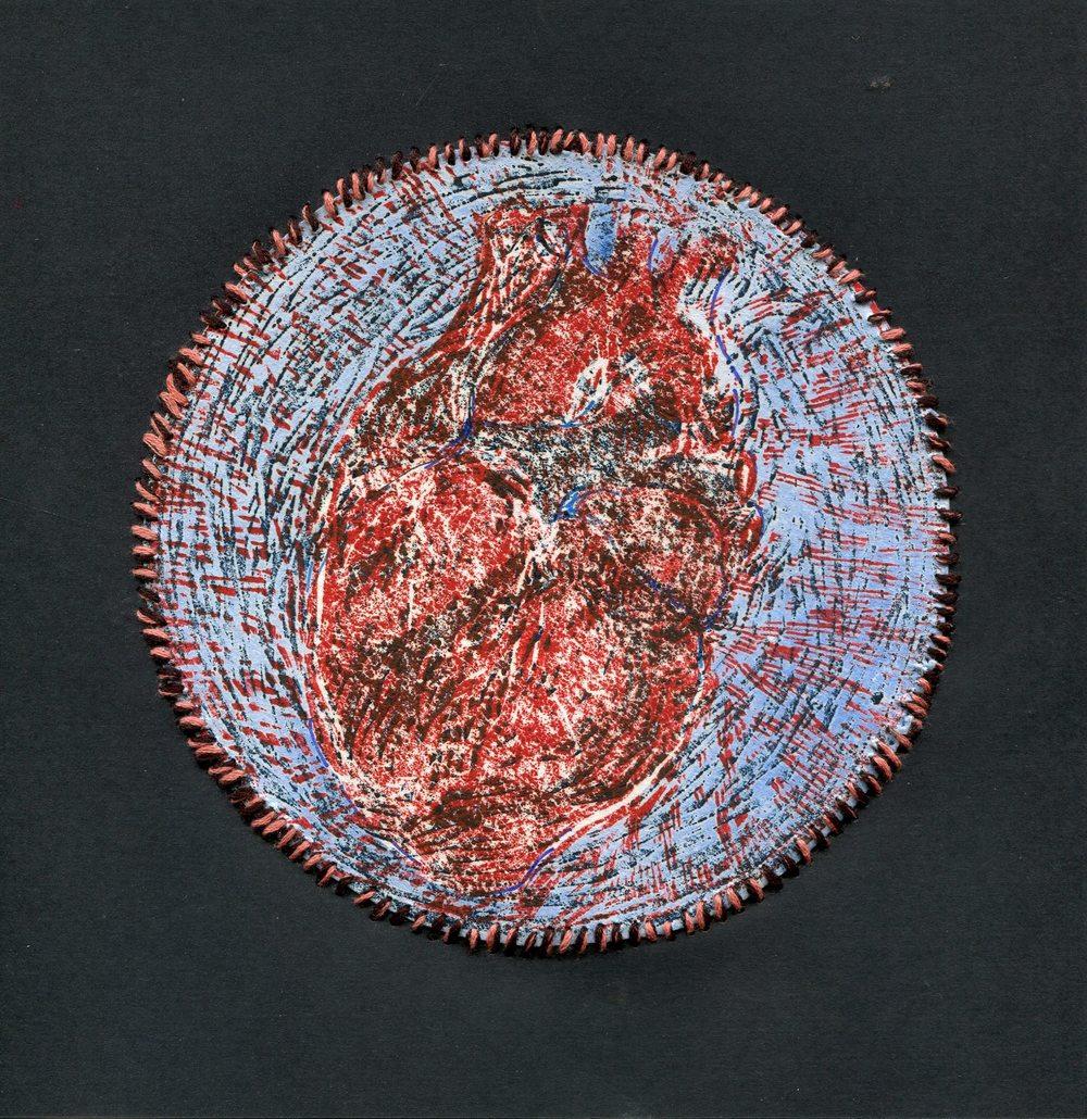95a Spencer, Faye - Juno's Heart, Lino,mixed media.jpg