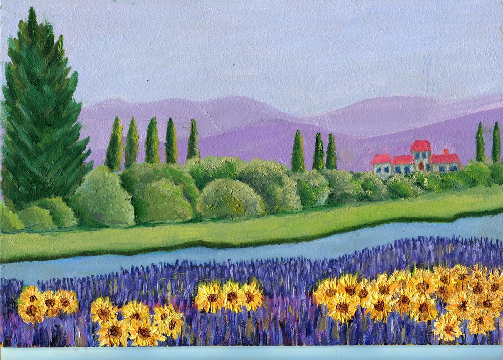 96 Byod, Liz - Landscape with sunflowers, Oil on board.jpg
