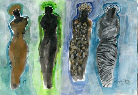 9c Oshi,Raja-Figure Study 1, Acrylic and water wash.jpg