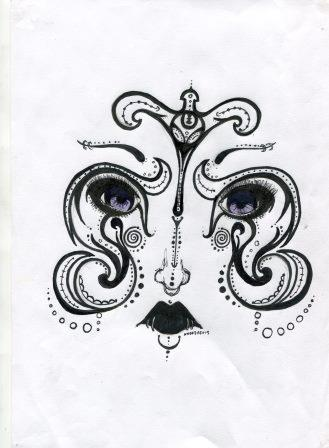 26a Rouillard, Andrea- Stylised Face,Pencil, Ink.jpg