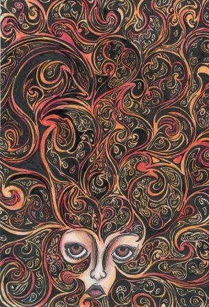 26b Rouillard, Andrea-Fantasy Face,Ink and Coloured Pencil.jpg