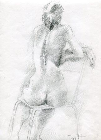 36a Hallows, Jenny-Nude from Life, Graphite on paper.jpg
