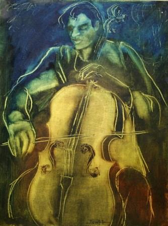 36c Hallowes, Jenny-Francois the HA Man, Oil  on paper primed with gold acrylic (2).JPG