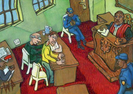 94a van Heerden, WP - Shattered View of hearing a Sentence, Oil on canvass.jpg