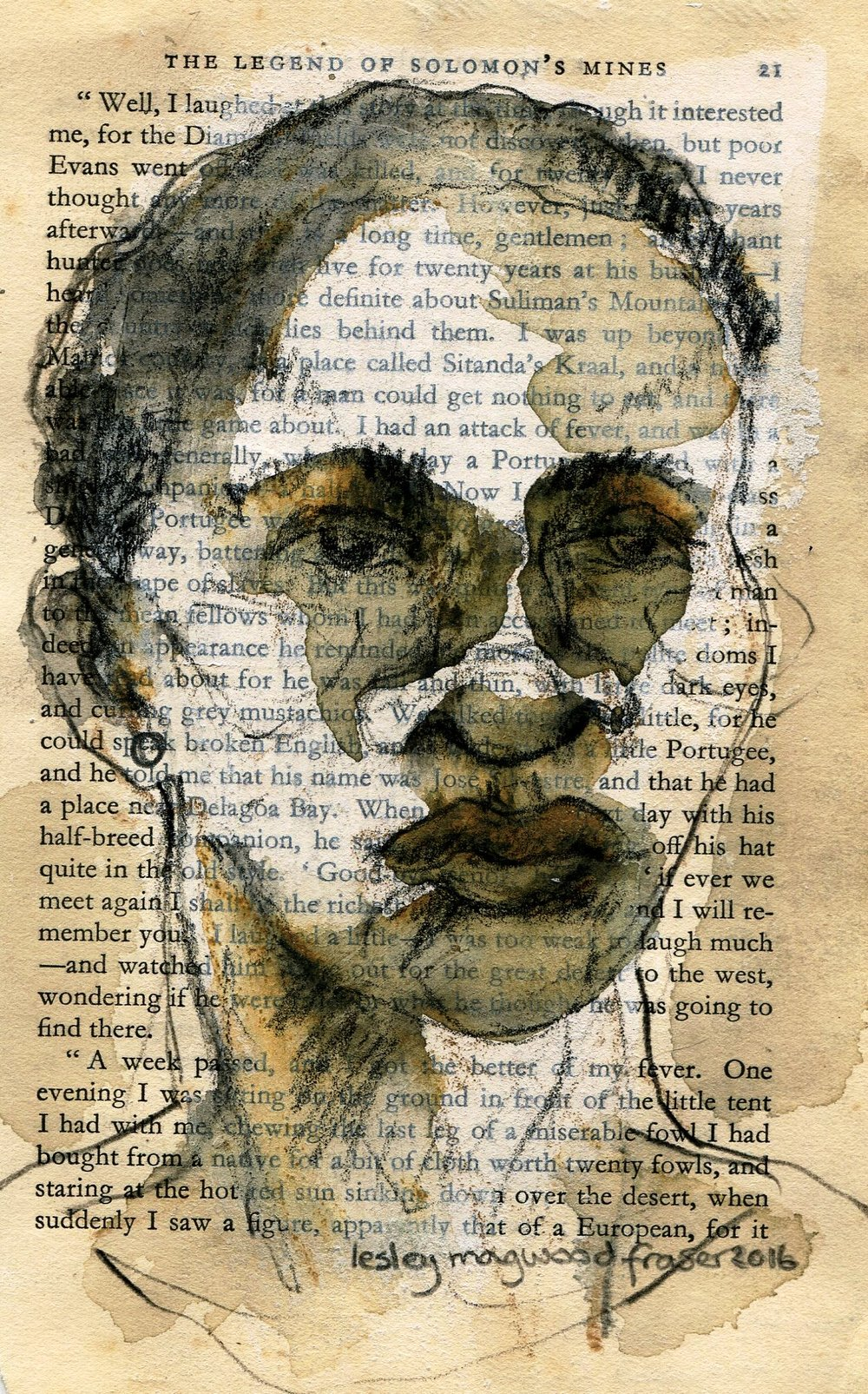 76a Lesley  Magwood Fraser, Promise Page 21, Aquarelle wash on book pages