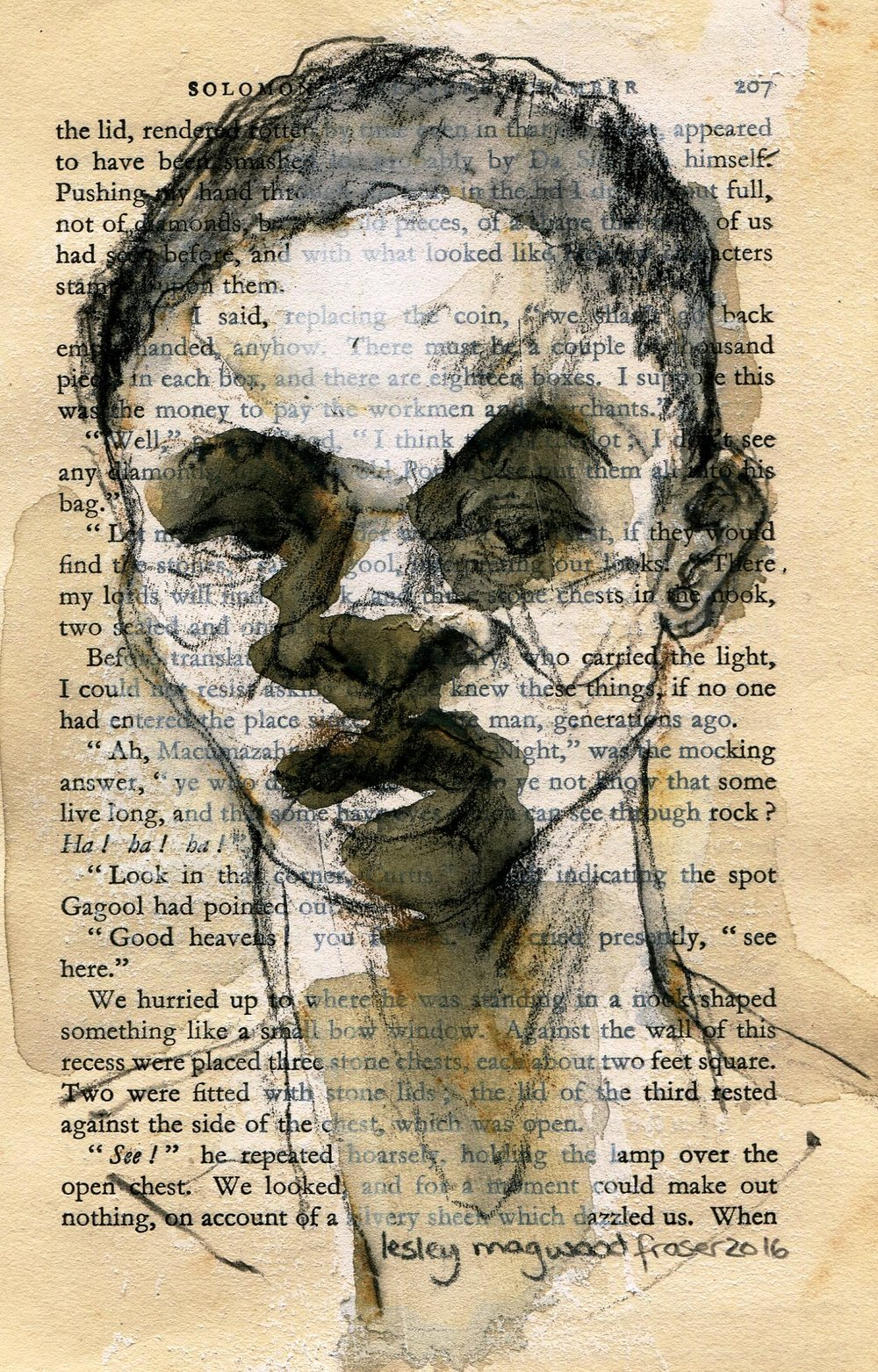 76c Lesley  Magwood Fraser, Promise Page 207, Aquarelle wash on book pages.jpg
