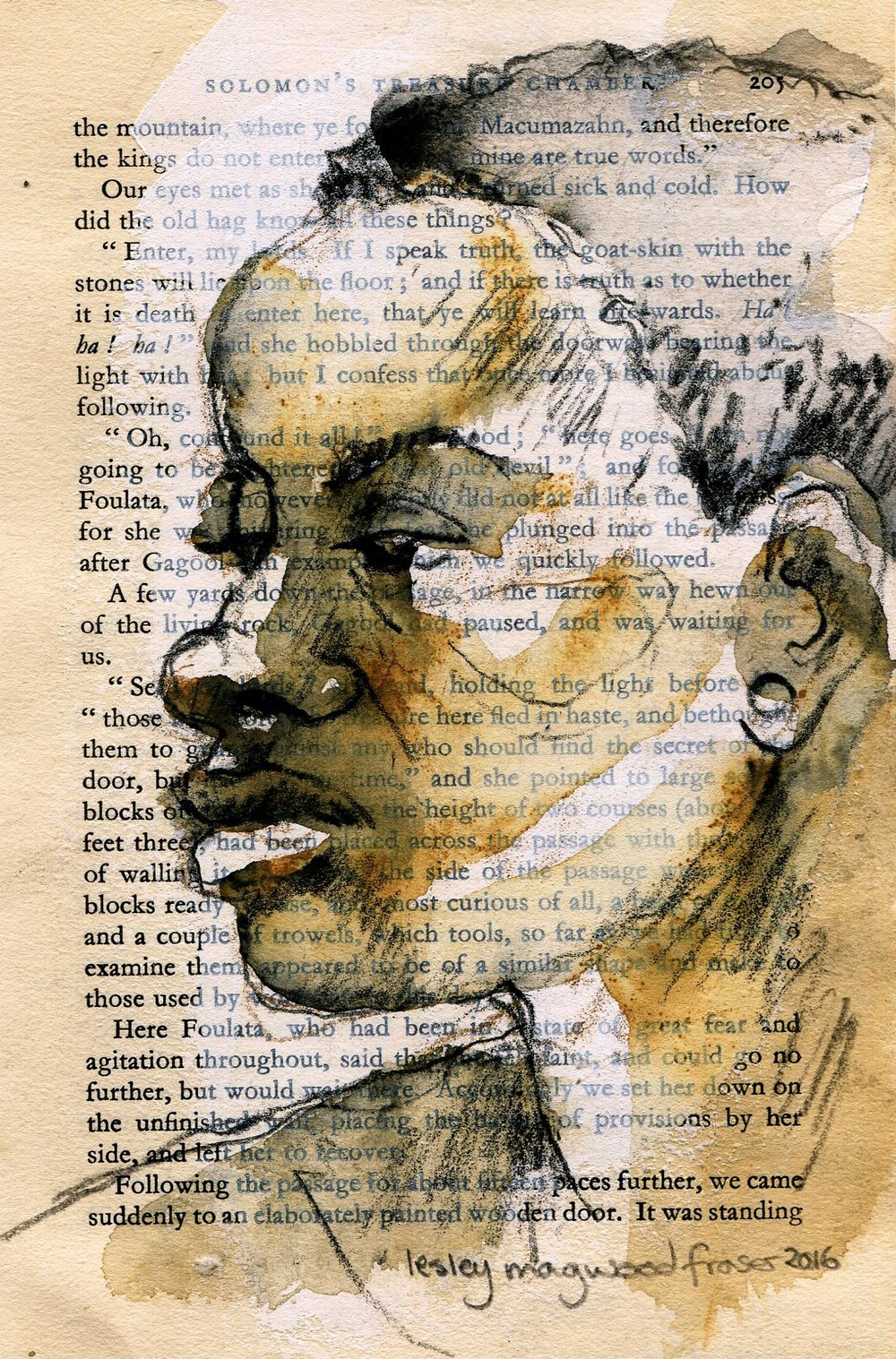 76b Lesley  Magwood Fraser, Promise Page 205, Aquarelle wash on book pages