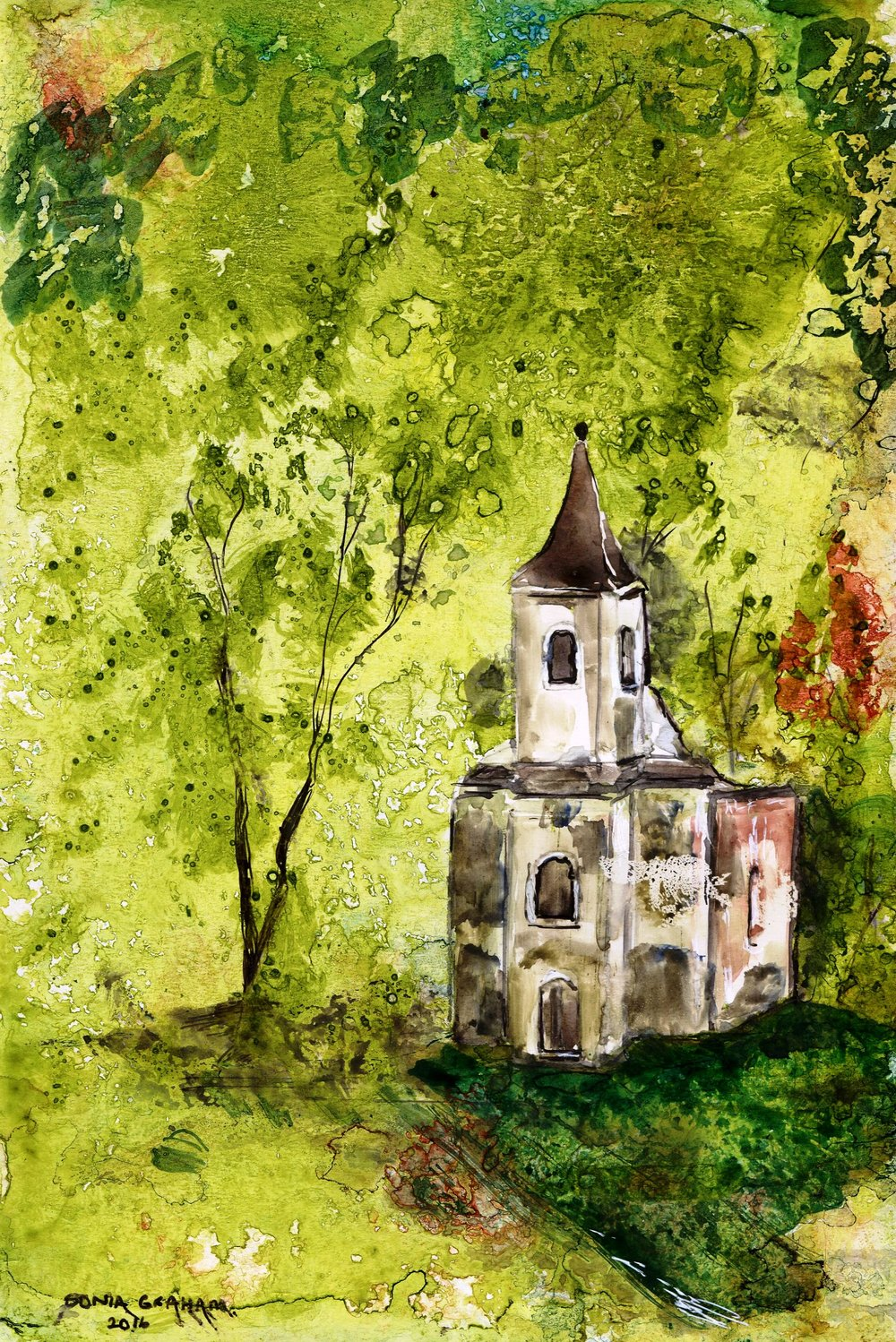 78a Sonia Graham, Church by Daylight, Ink & watercolour on card