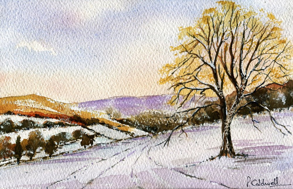 79a Patricia May Caldwell, On a Cold and Frosty Morning, Watercolour on paper