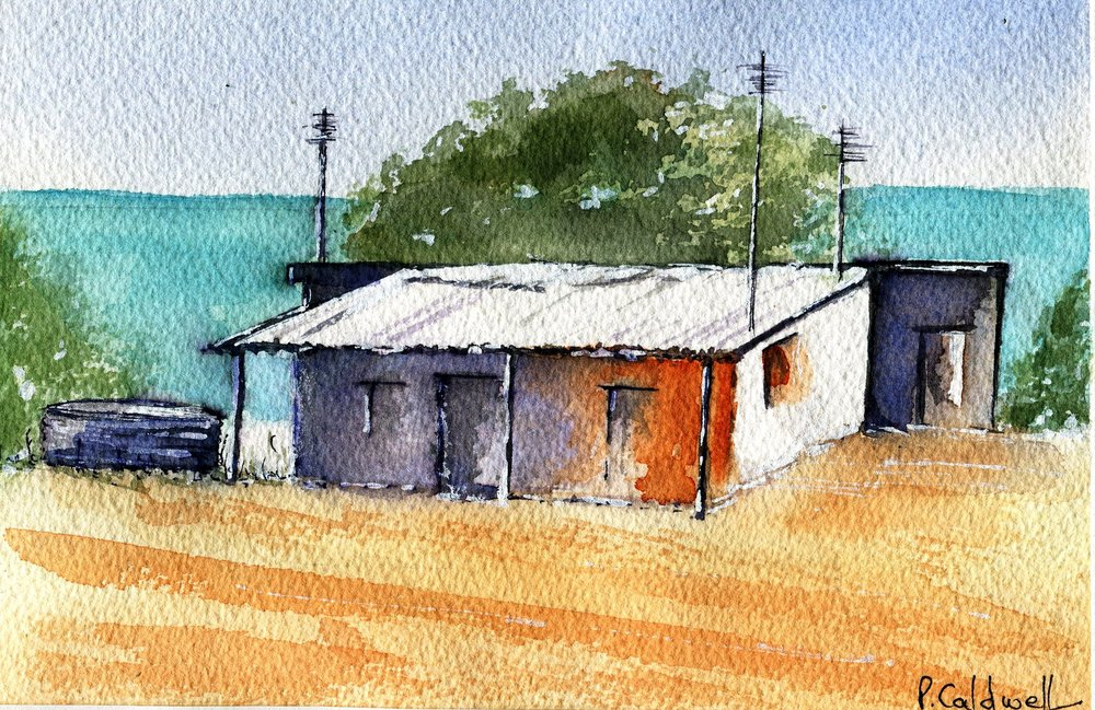 79b Patricia May Caldwell, Beach Cottage, Watercolour on paper