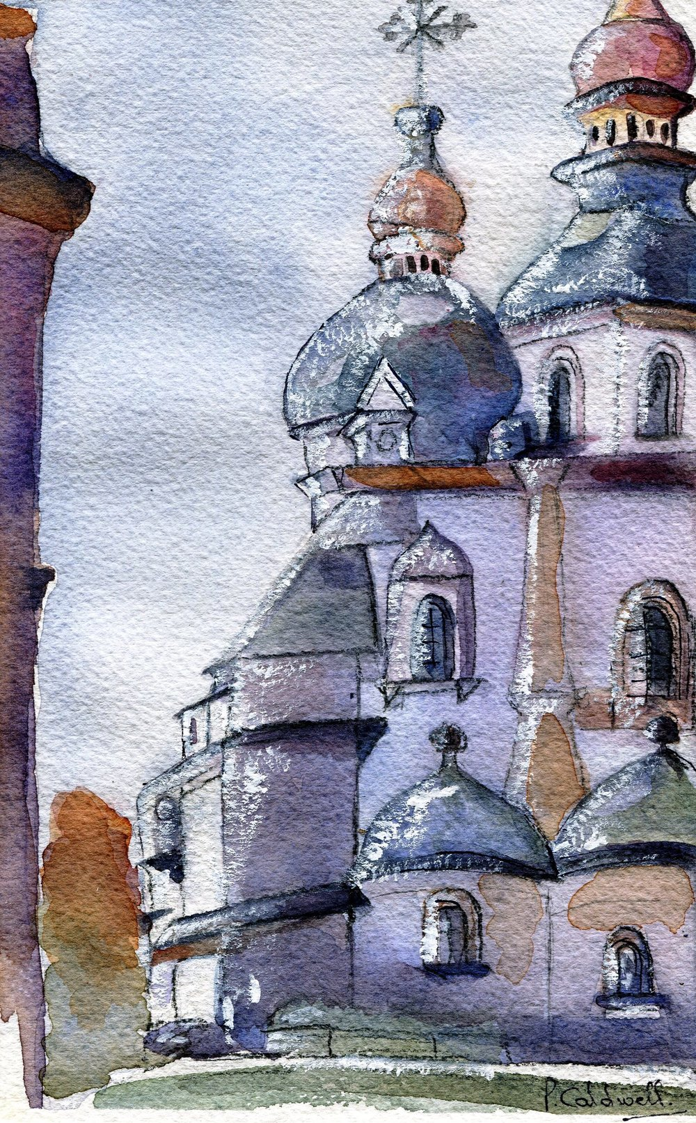 79c Patricia May Caldwell, Church, Main St., Kiev, Ukraine, Watercolour on paper