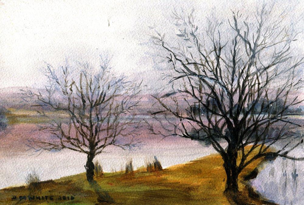 81a Don White, Castleburn, Drakensberg, Acrylic on paper
