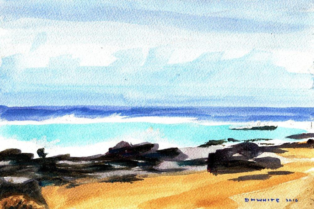 81b Don White, North Coast Scene, Acrylic on paper