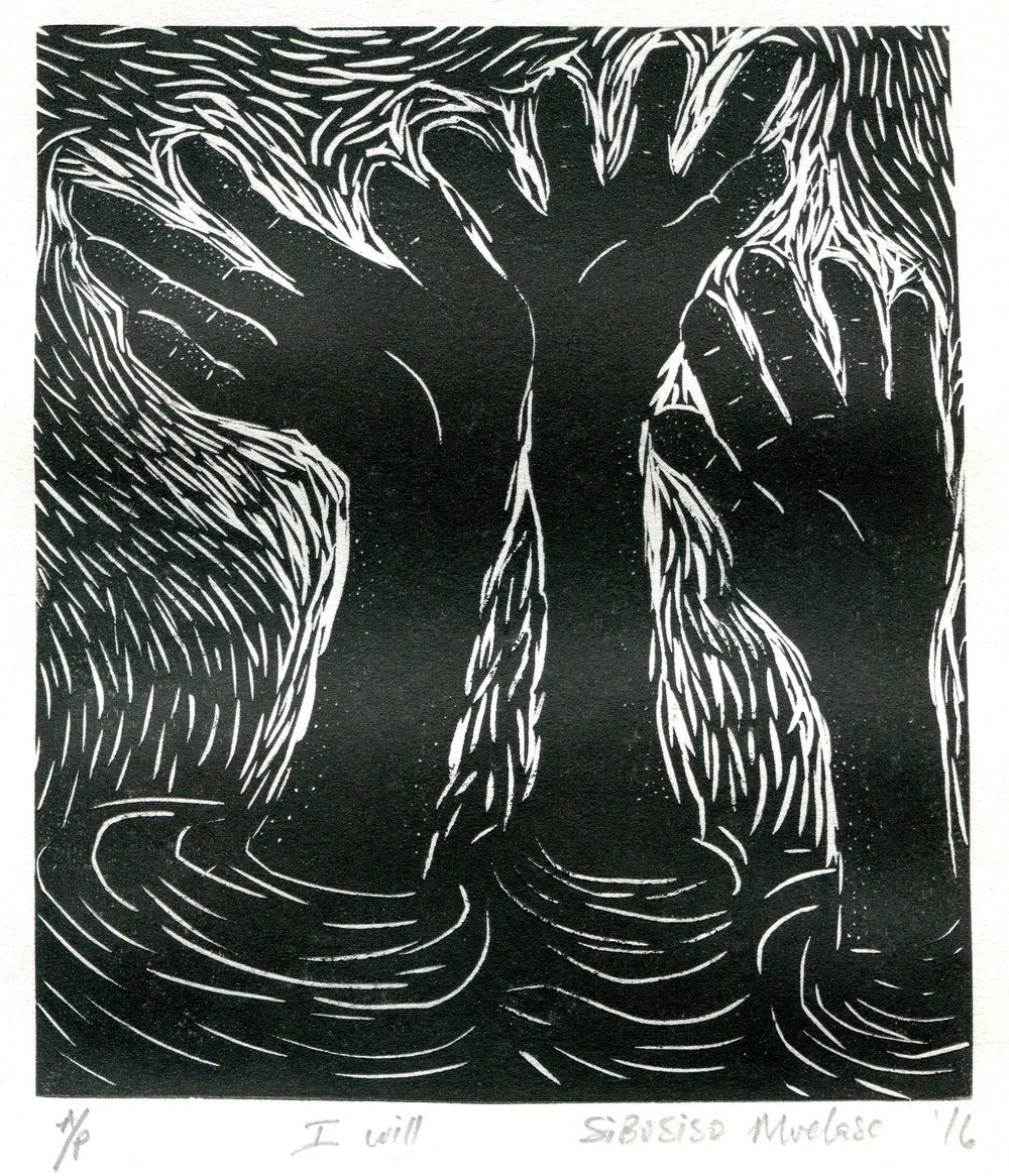 82a Sibusiso Mvelase,  I Will, Linoprint on paper