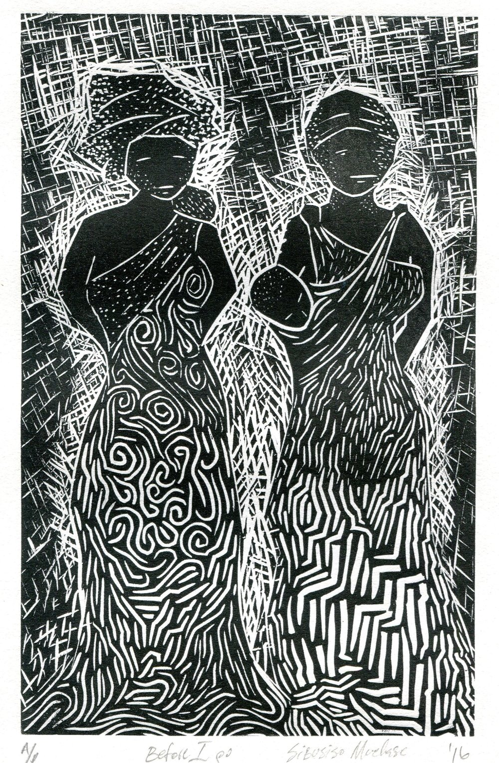 82b Sibusiso Mvelase,  Before I Go, Linoprint on paper