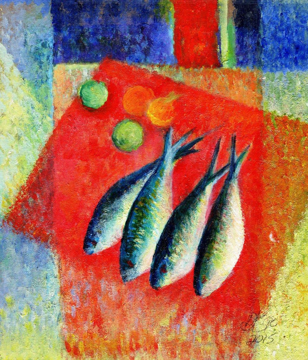 86b Doret Ege,  Fish Series 2, Acrylic on paper