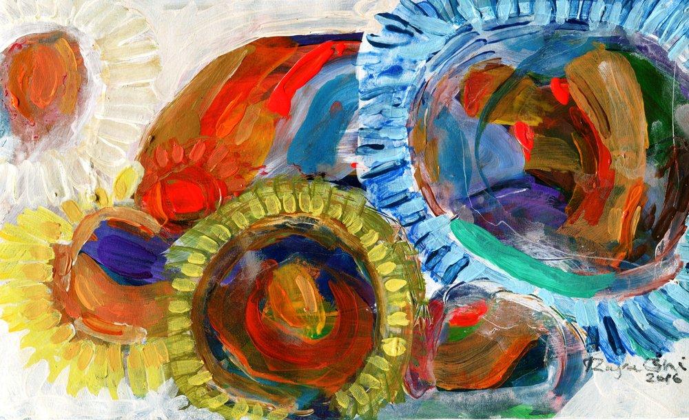 89a Raja Oshi, Sunflower, Acrylic on paper