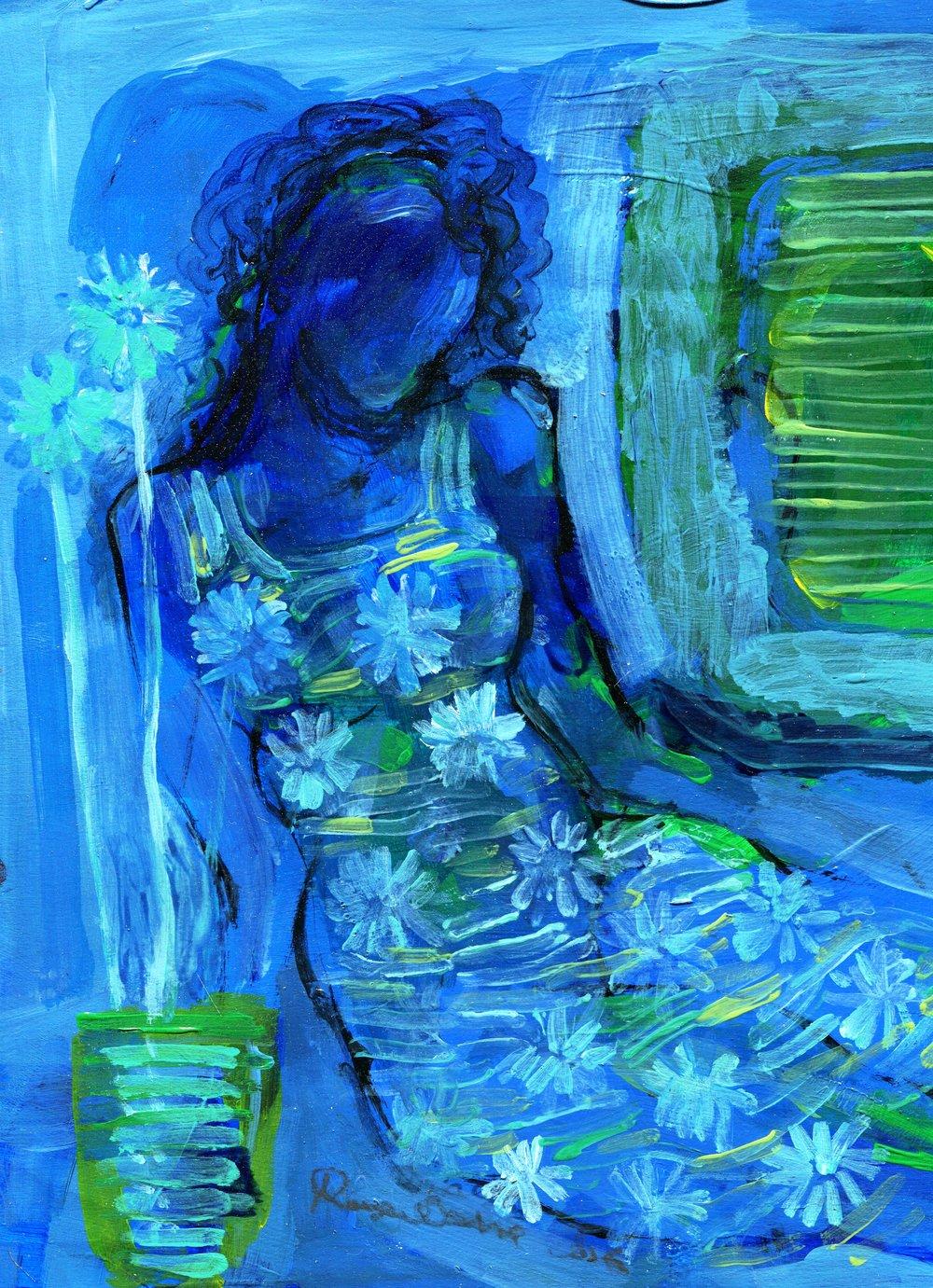 89b Raja Oshi, Blue, Acrylic on paper