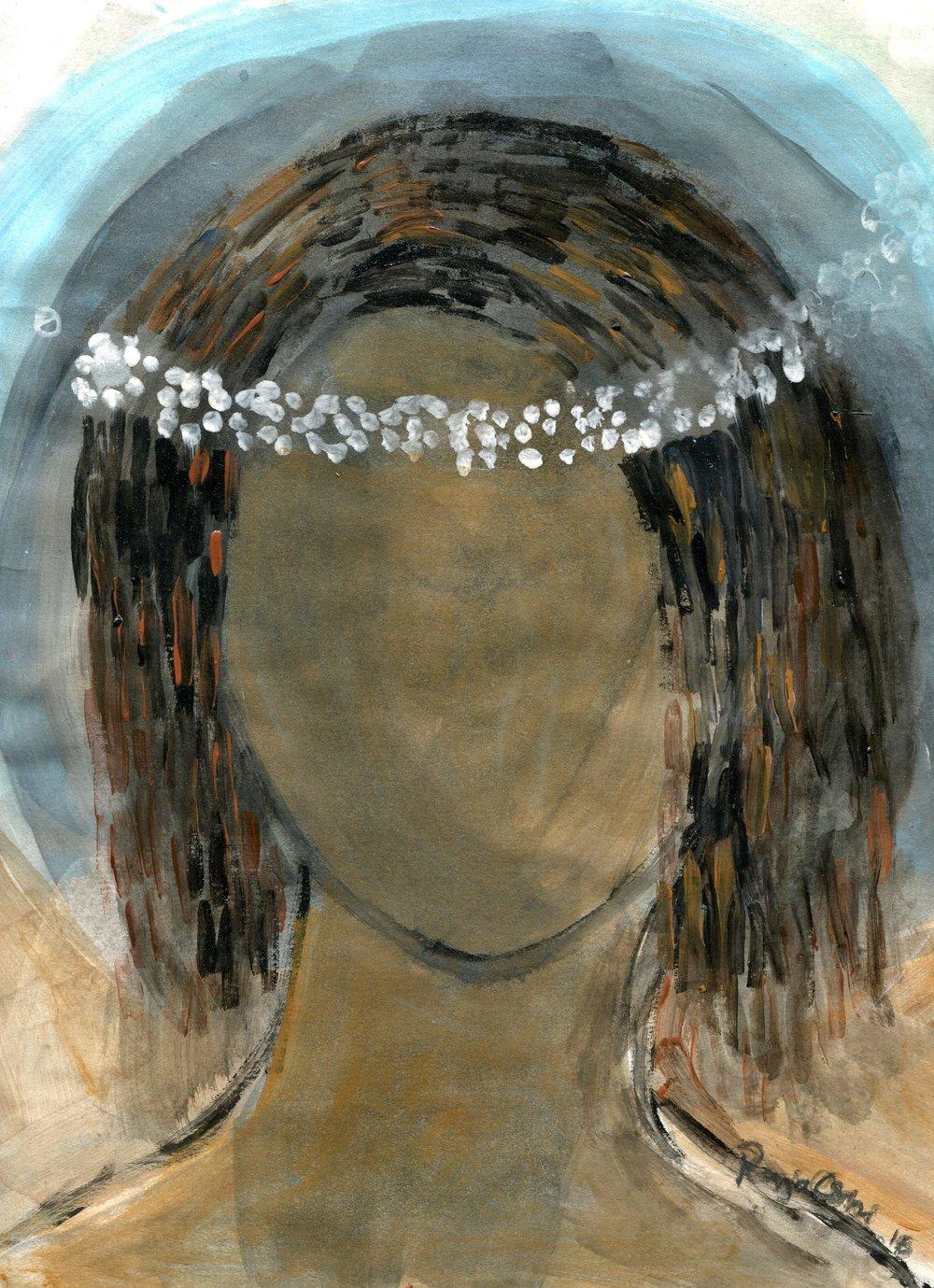 89c Raja Oshi, Angel, Acrylic on paper