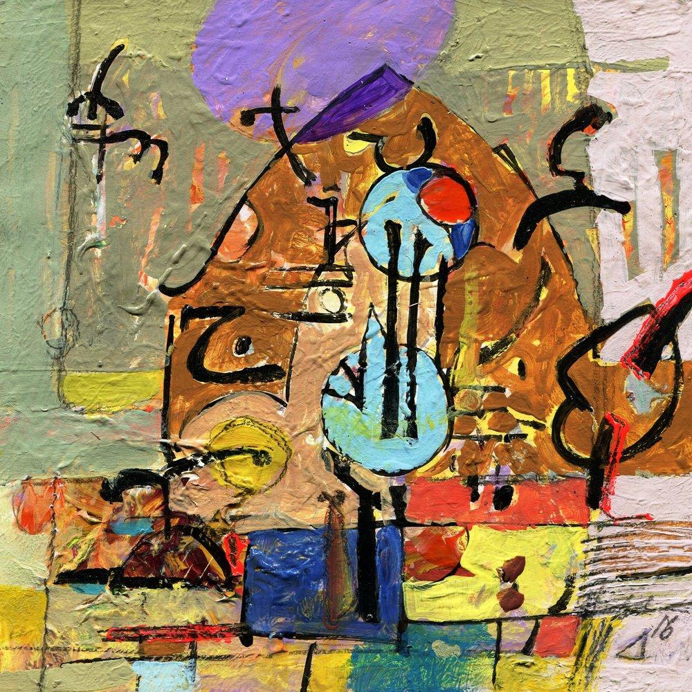 90c Hussein Salim,  Symbols , Acrylic on paper