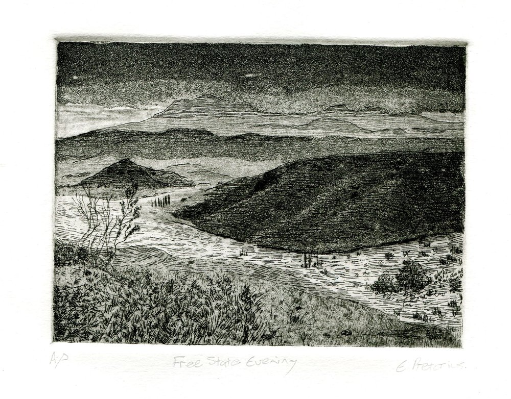 96a Eloff Pretorius,  Free State Evening, Etching on paper