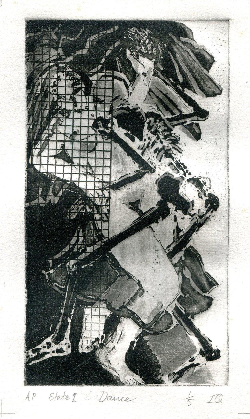 97a Isabella Quattrocchi, Dance,  Aquatint etching on paper