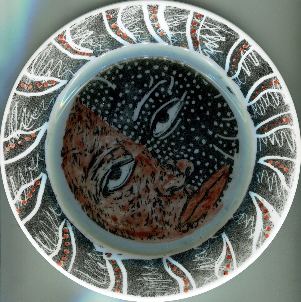 98c Penny Forder, Ahead, Onglaze enamel plate