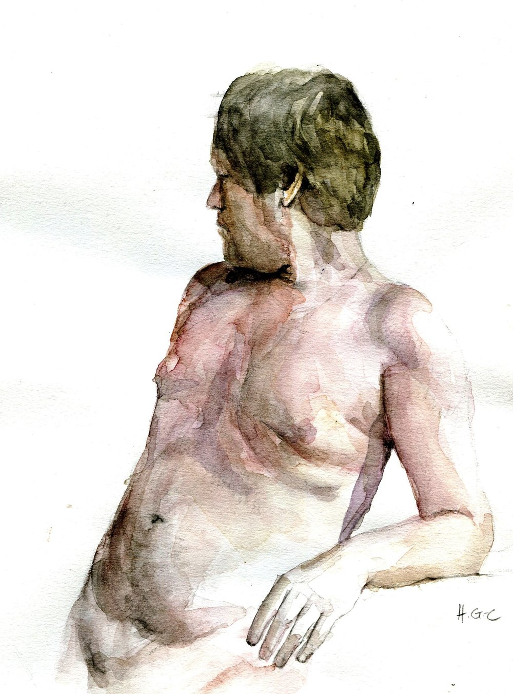 99b Heather Gourlay-Conyngham, Figure Study, Watercolour on paper
