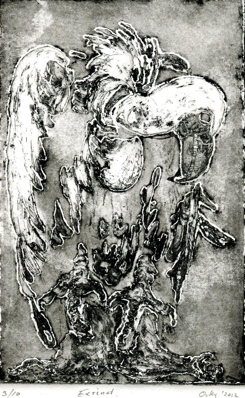 52b Ockert Kruger,  Extinct, Etching on paper