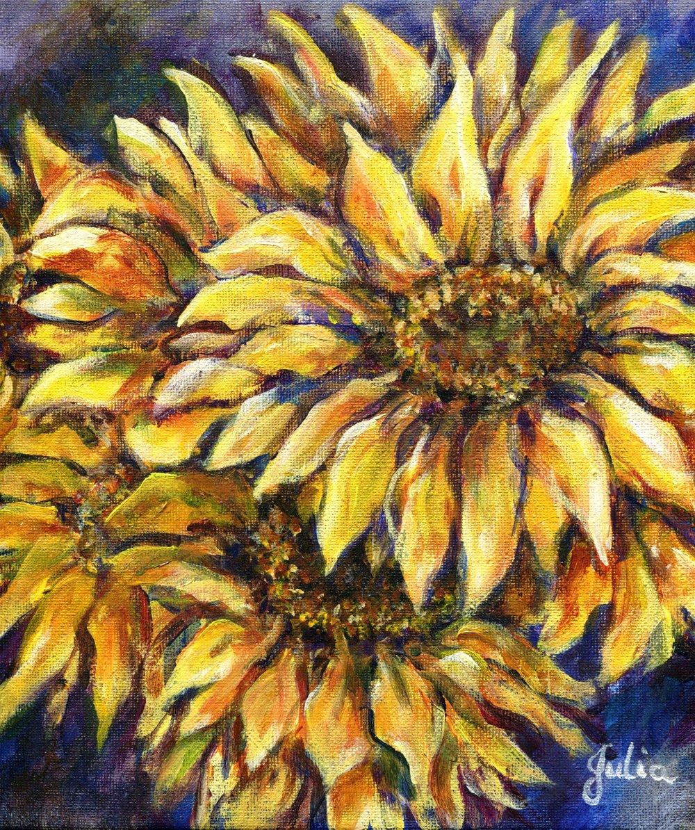 57a Julia van der Walt,  Sunflower 1, Oil on canvas