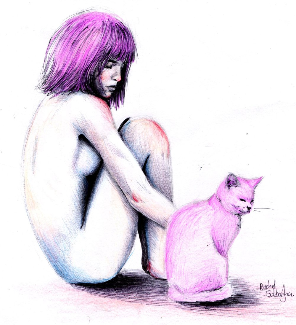 64a Rachel Sabbagh,  Nude and Cat, Colour pencils on paper