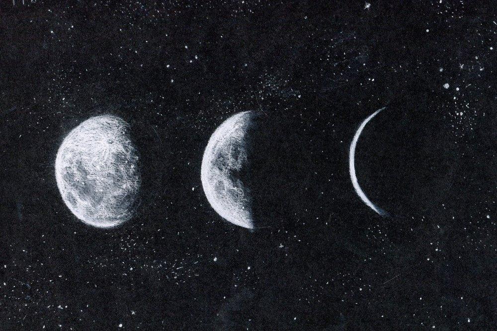 64c Rachel Sabbagh, Moons, Chalk on card